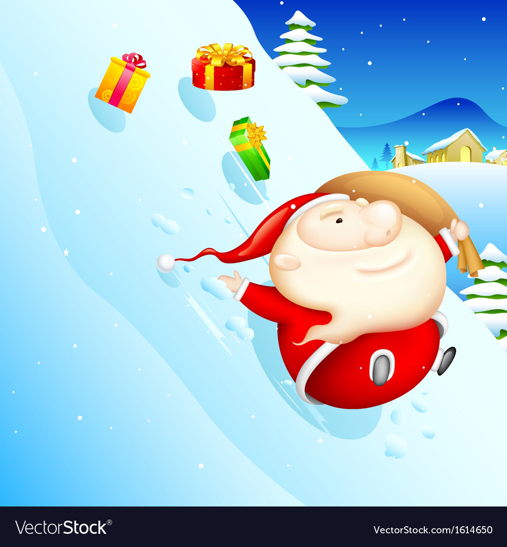 Sliding santa vector | Price: 1 Credit (USD $1)