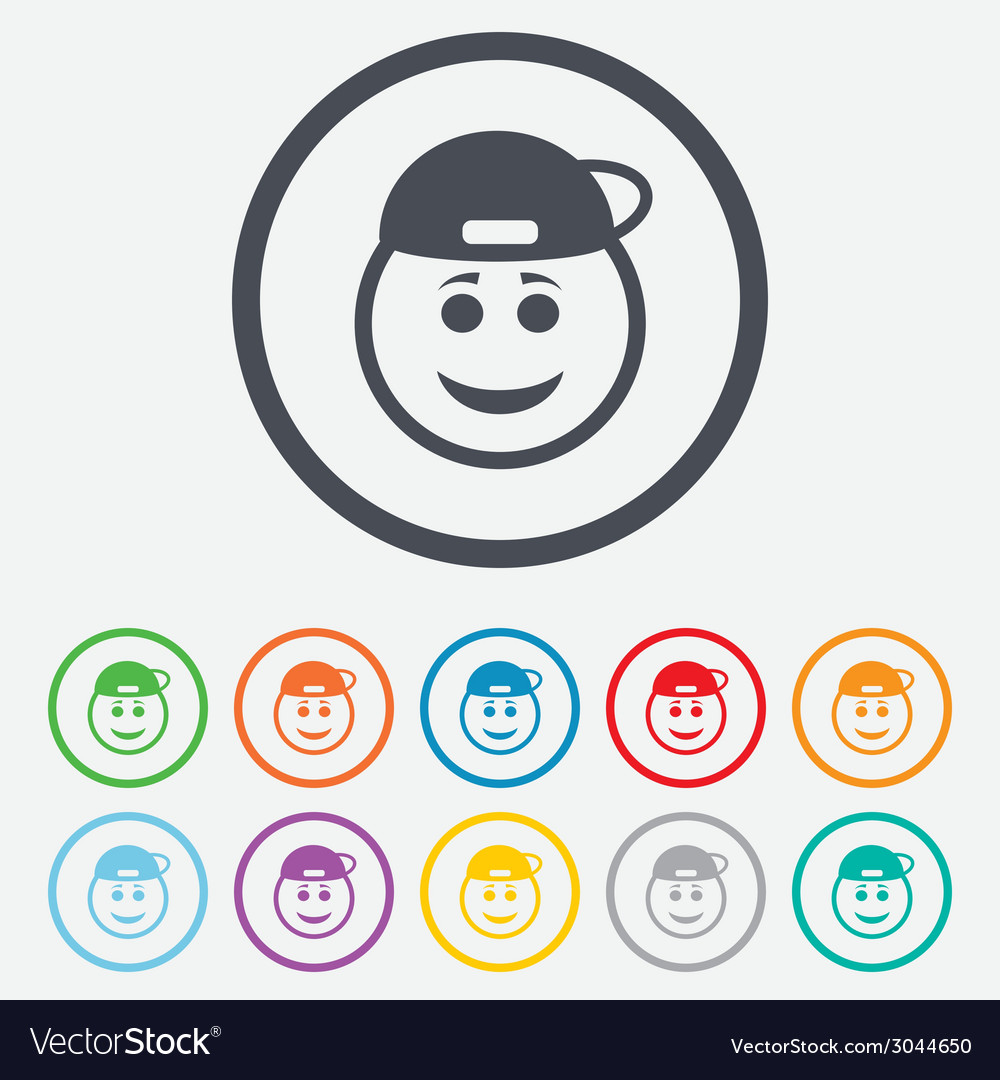 Smile rapper face icon smiley symbol vector | Price: 1 Credit (USD $1)