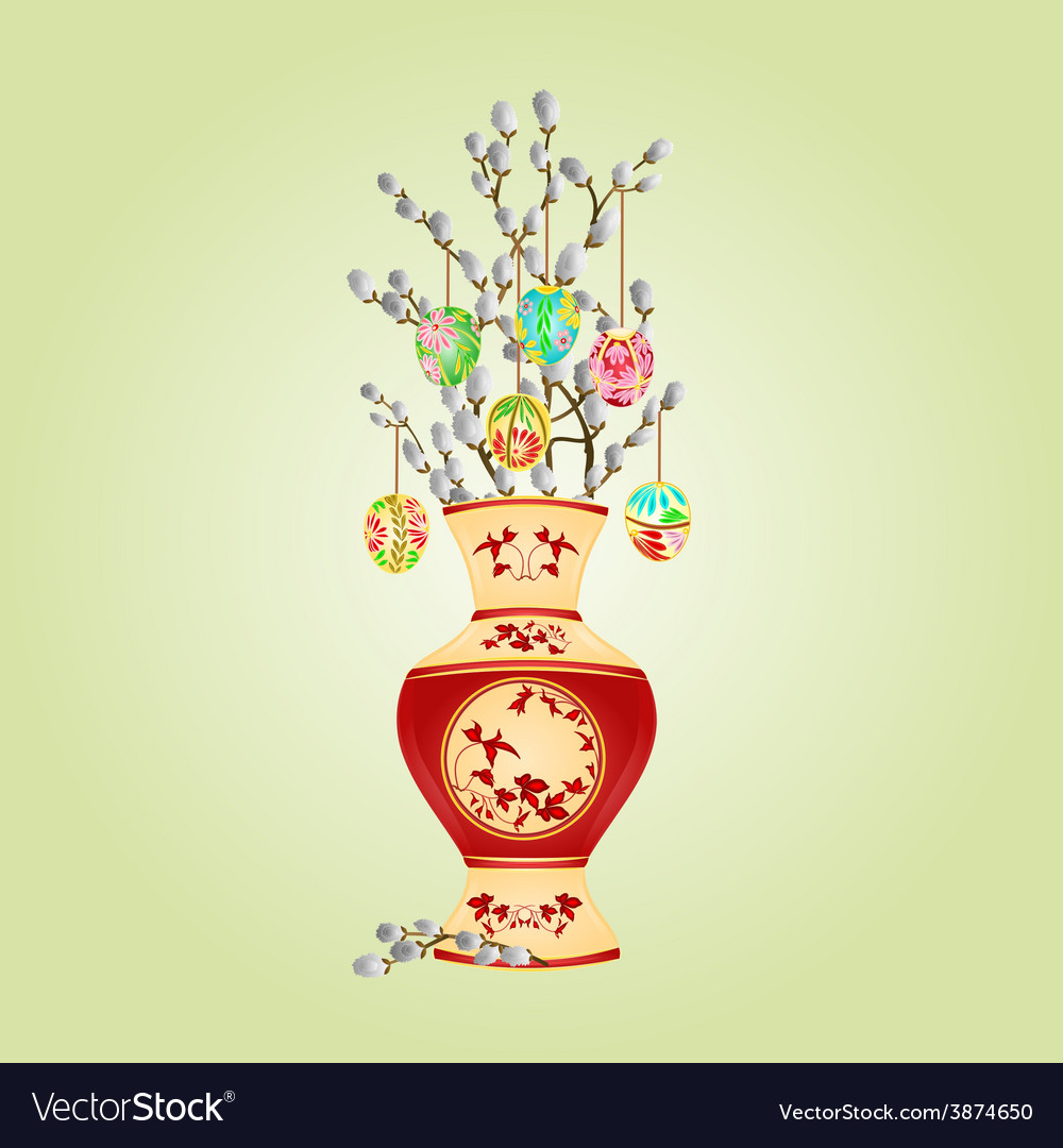 Vase with branch pussy willow and easter eggs vector | Price: 1 Credit (USD $1)