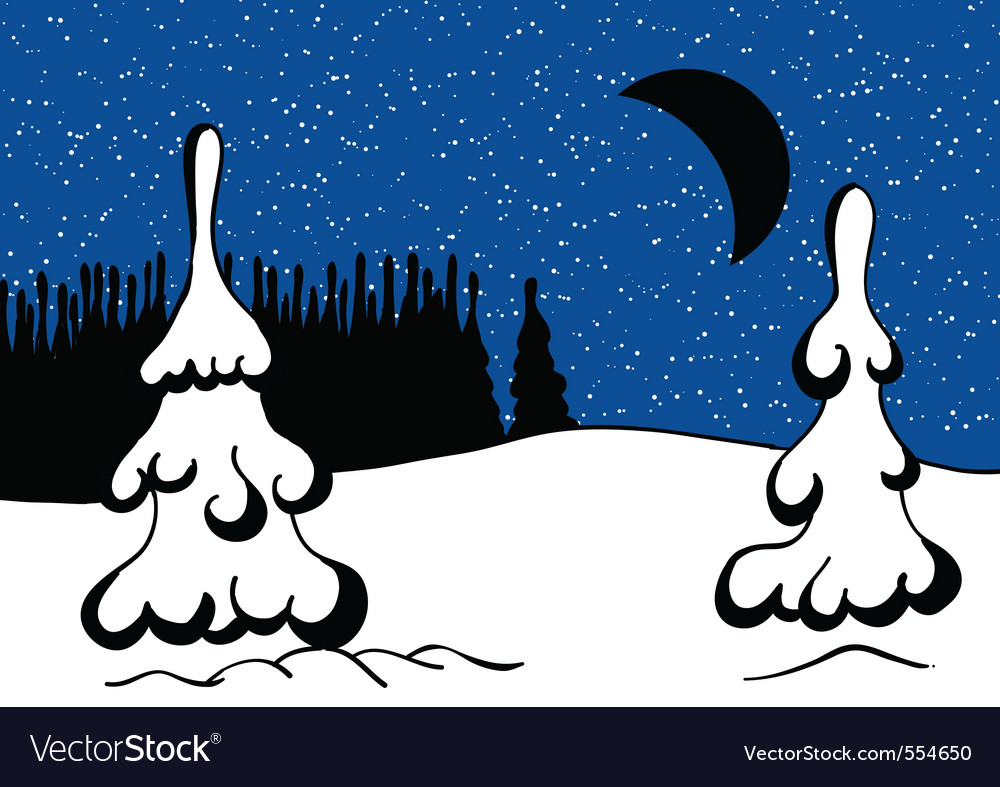 Winter snowy landscape at night vector | Price: 1 Credit (USD $1)