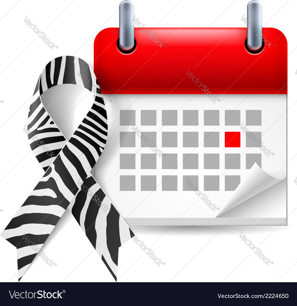 Zebraprint awareness ribbon and calendar vector | Price: 1 Credit (USD $1)