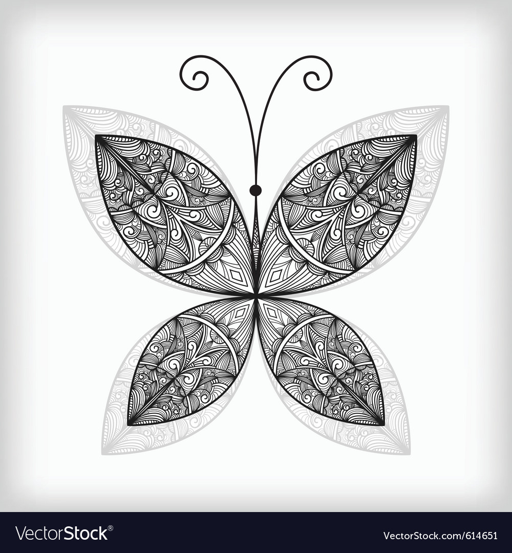 Abstract highly detailed nonochrome butterfly vector | Price: 1 Credit (USD $1)