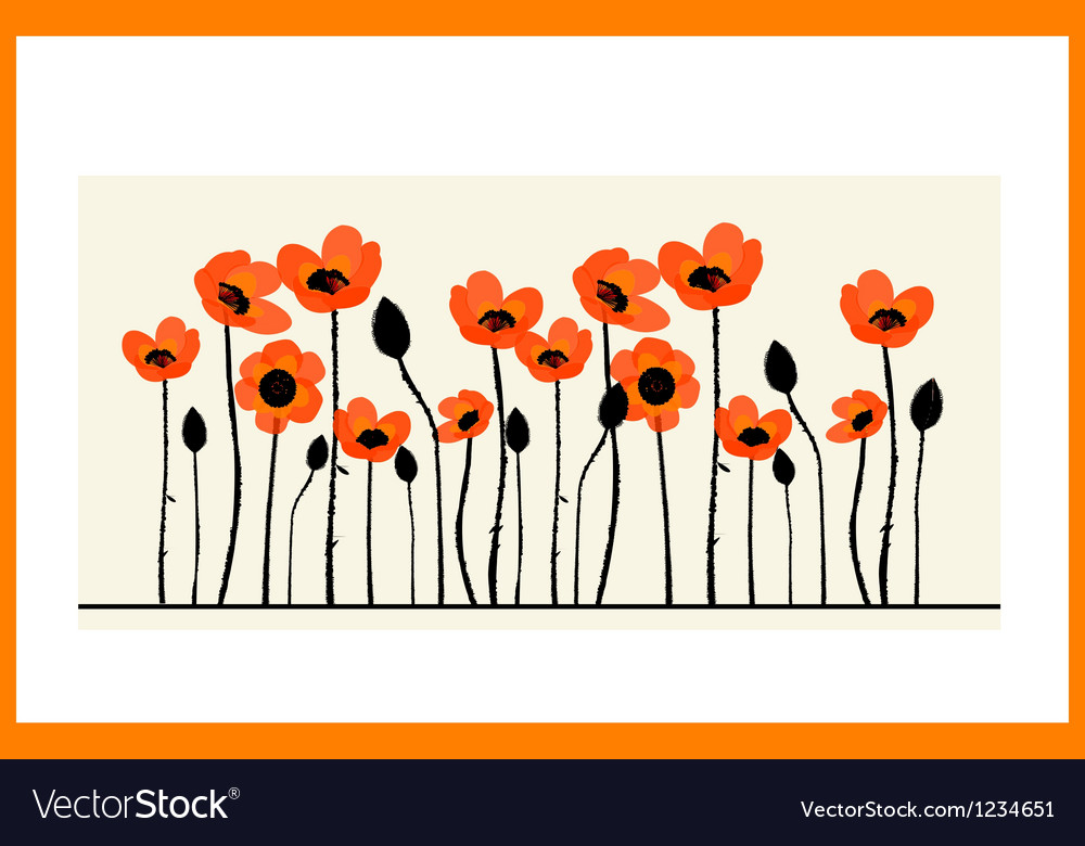 Background painting with red poppies vector | Price: 1 Credit (USD $1)