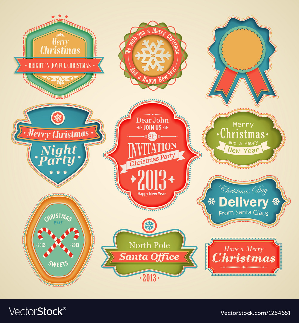 Cute christmas labels vector | Price: 3 Credit (USD $3)