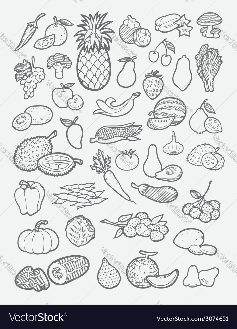 Fruits and vegetables icons sketch vector | Price: 1 Credit (USD $1)