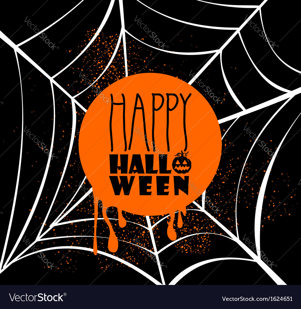 Happy halloween pumpkin text over spider web eps10 vector | Price: 1 Credit (USD $1)