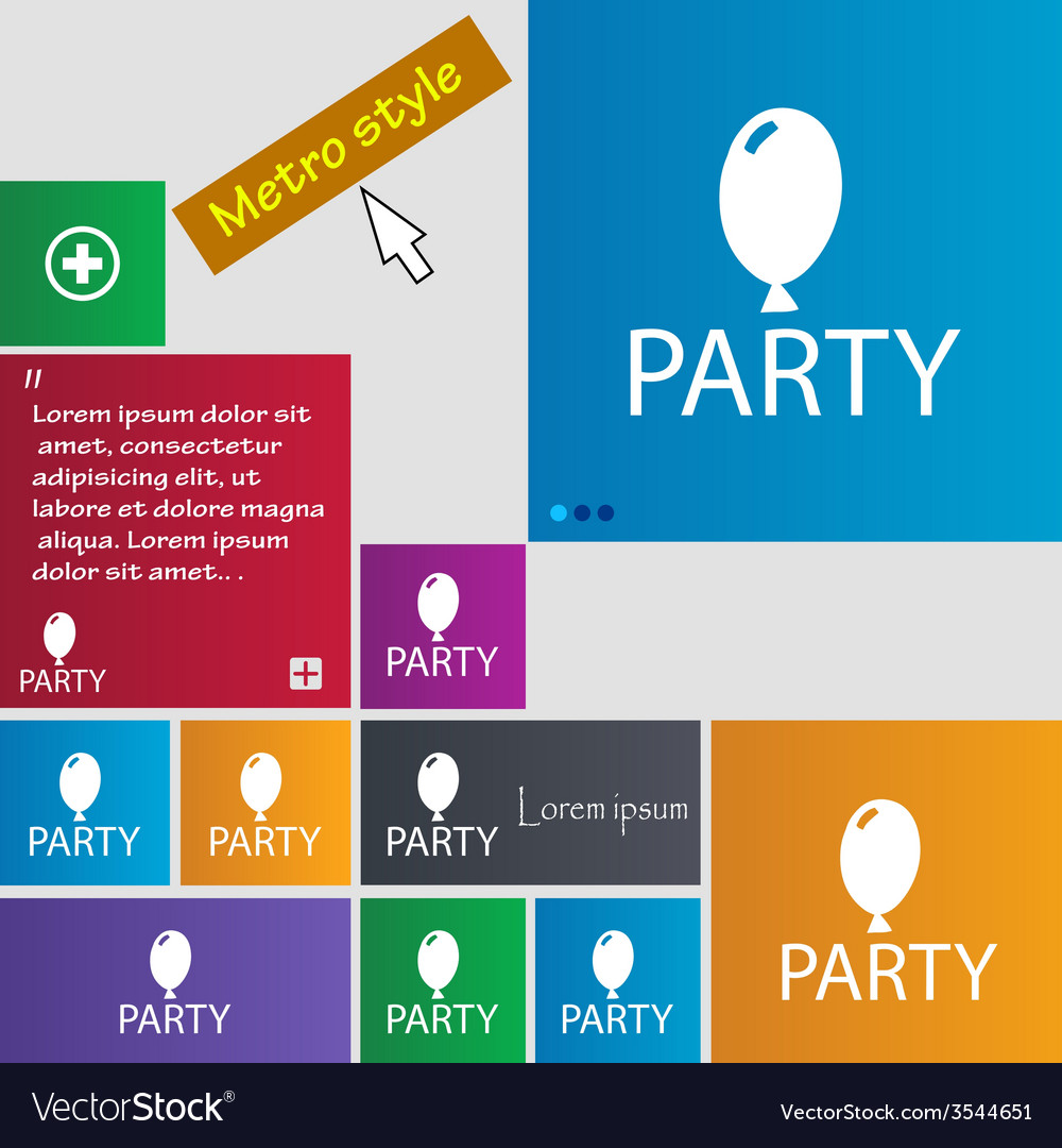 Party sign icon birthday air balloon with rope or vector | Price: 1 Credit (USD $1)