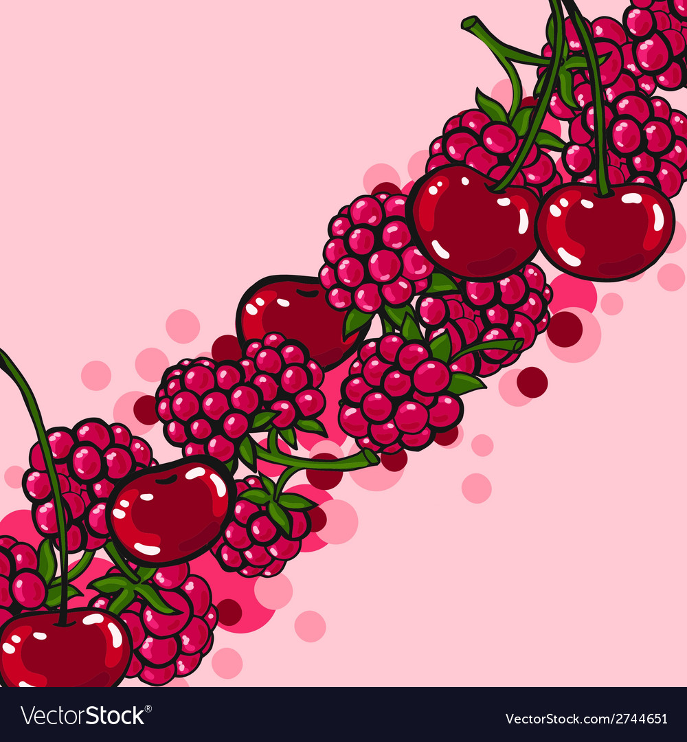 Pink background with berries vector | Price: 1 Credit (USD $1)
