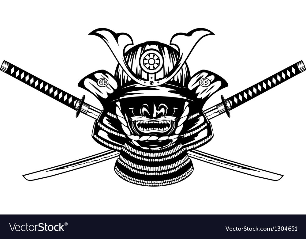 Samurai helmet and crossed katanas vector | Price: 1 Credit (USD $1)