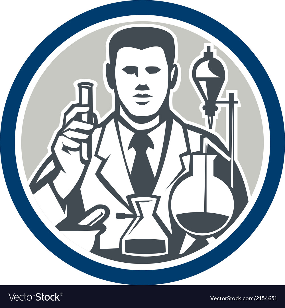 Scientist lab researcher chemist retro circle vector | Price: 1 Credit (USD $1)