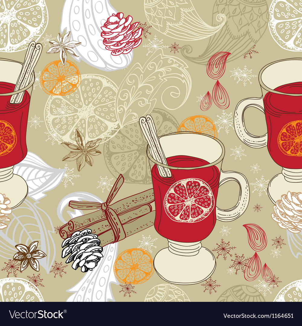Seamless doodle background with mulled warm wine vector | Price: 1 Credit (USD $1)