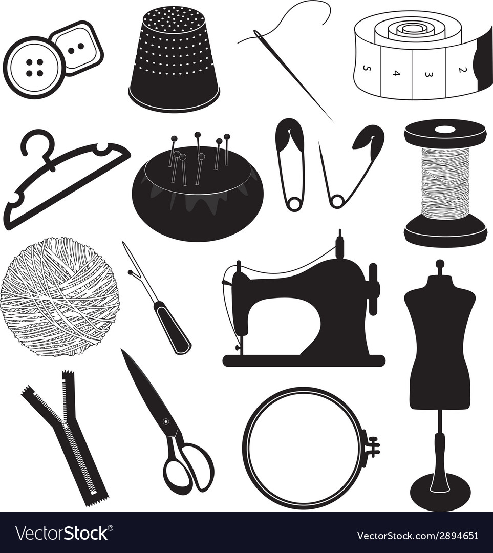 Sewing tool icons collection vector | Price: 1 Credit (USD $1)