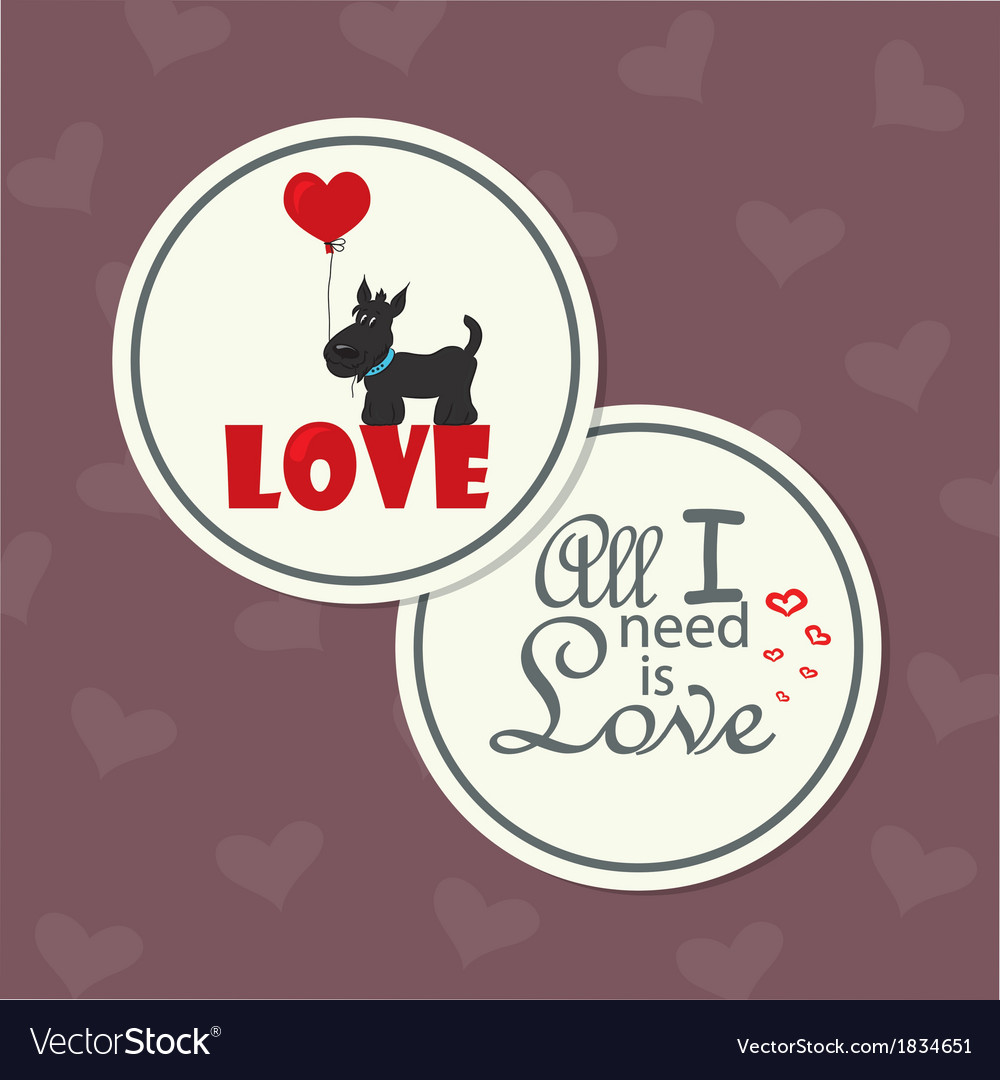 Valentine dog with heart vector | Price: 1 Credit (USD $1)