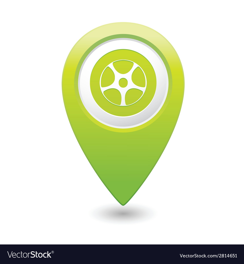 Wheel icon green map pointer vector | Price: 1 Credit (USD $1)