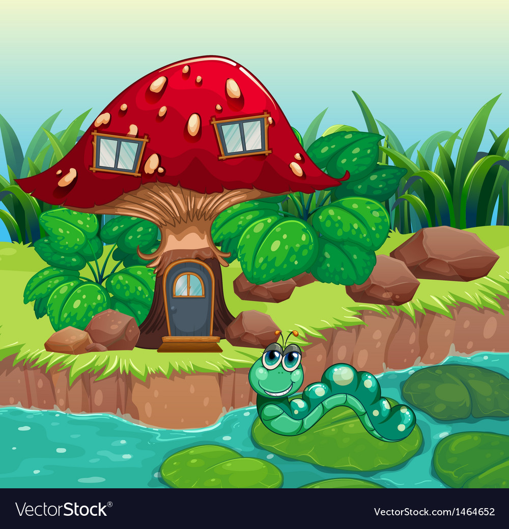 A worm near the red mushroom house vector | Price: 1 Credit (USD $1)