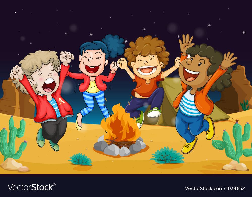 Boys near fire vector   Price: 1 Credit (USD $1)