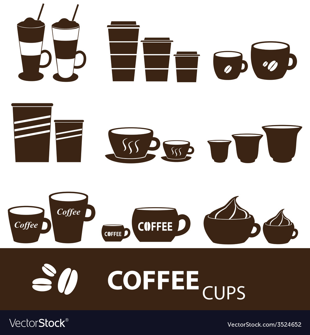 Coffee cups and mugs sizes variations icons set vector   Price: 1 Credit (USD $1)