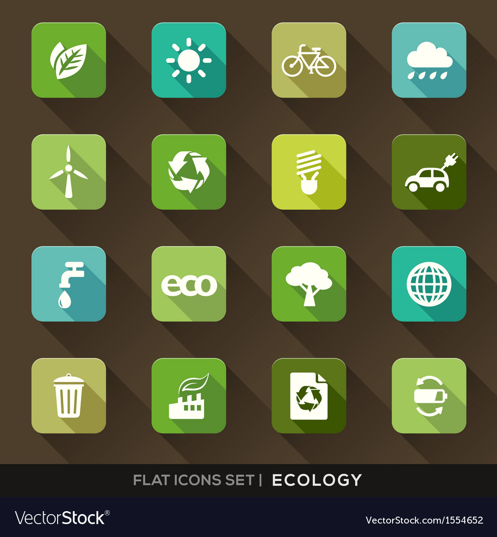 Ecology flat icons set vector | Price: 1 Credit (USD $1)
