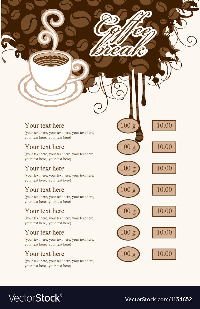 List with cup of coffee vector | Price: 3 Credit (USD $3)