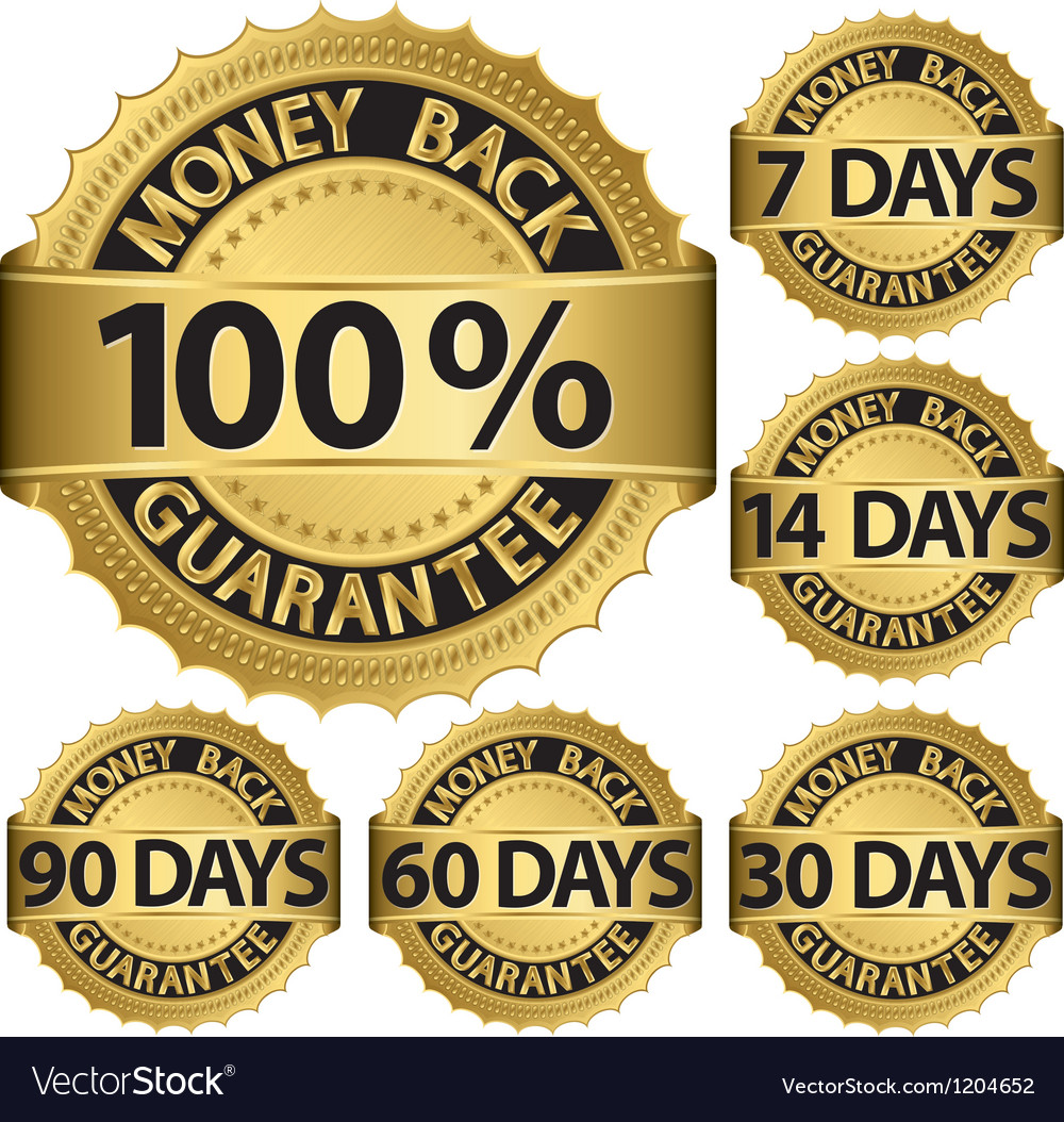 Money back guarantee golden label set vector | Price: 3 Credit (USD $3)