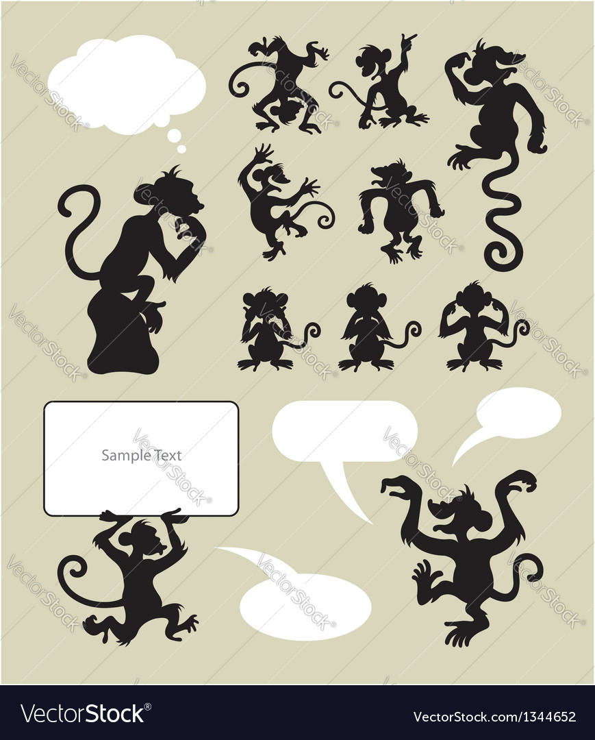 Monkey silhouettes vector | Price: 1 Credit (USD $1)