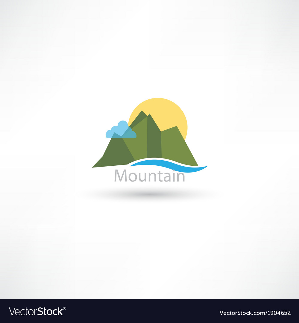 Mountains symbol with sun and cloud vector | Price: 1 Credit (USD $1)