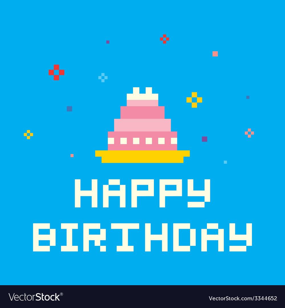 Pixel birthday cake vector | Price: 1 Credit (USD $1)
