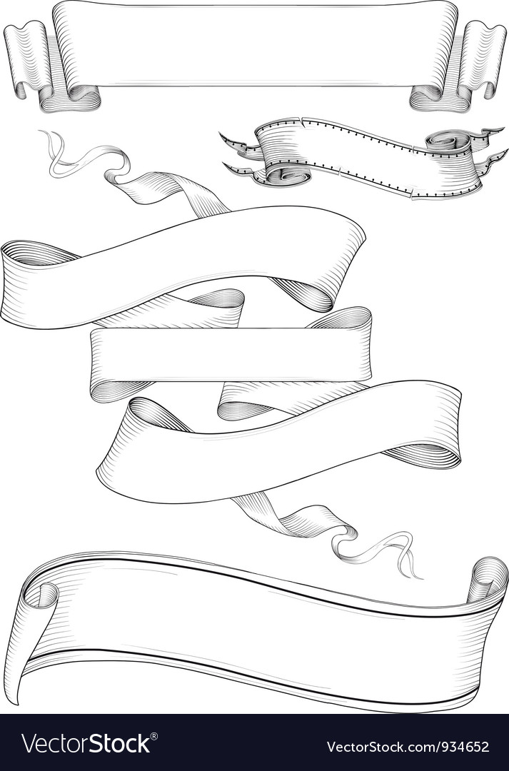 Ribbon banners engravin style vector | Price: 1 Credit (USD $1)