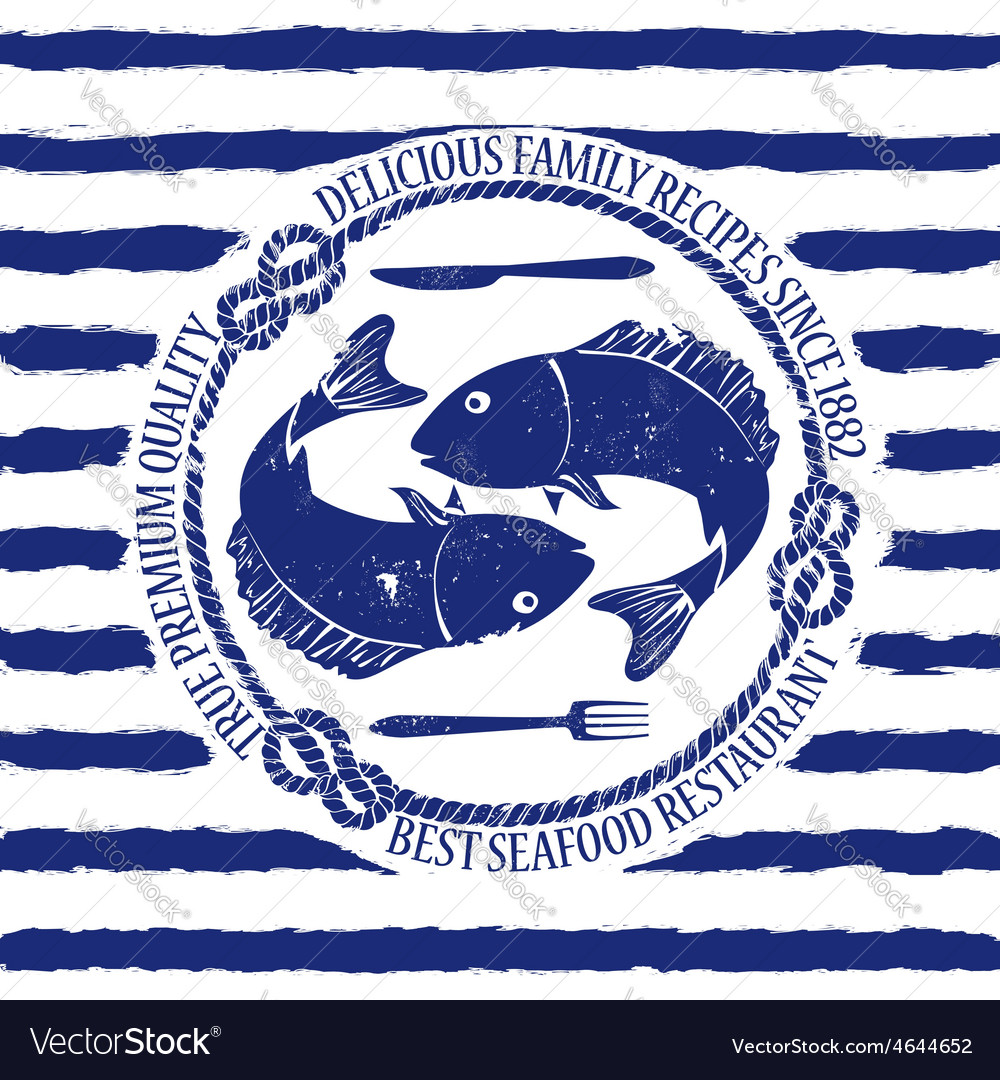 Seafood restaurant emblem with fish vector | Price: 1 Credit (USD $1)