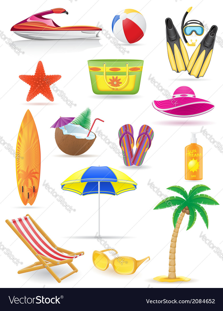 Set of beach icons 03 vector | Price: 1 Credit (USD $1)