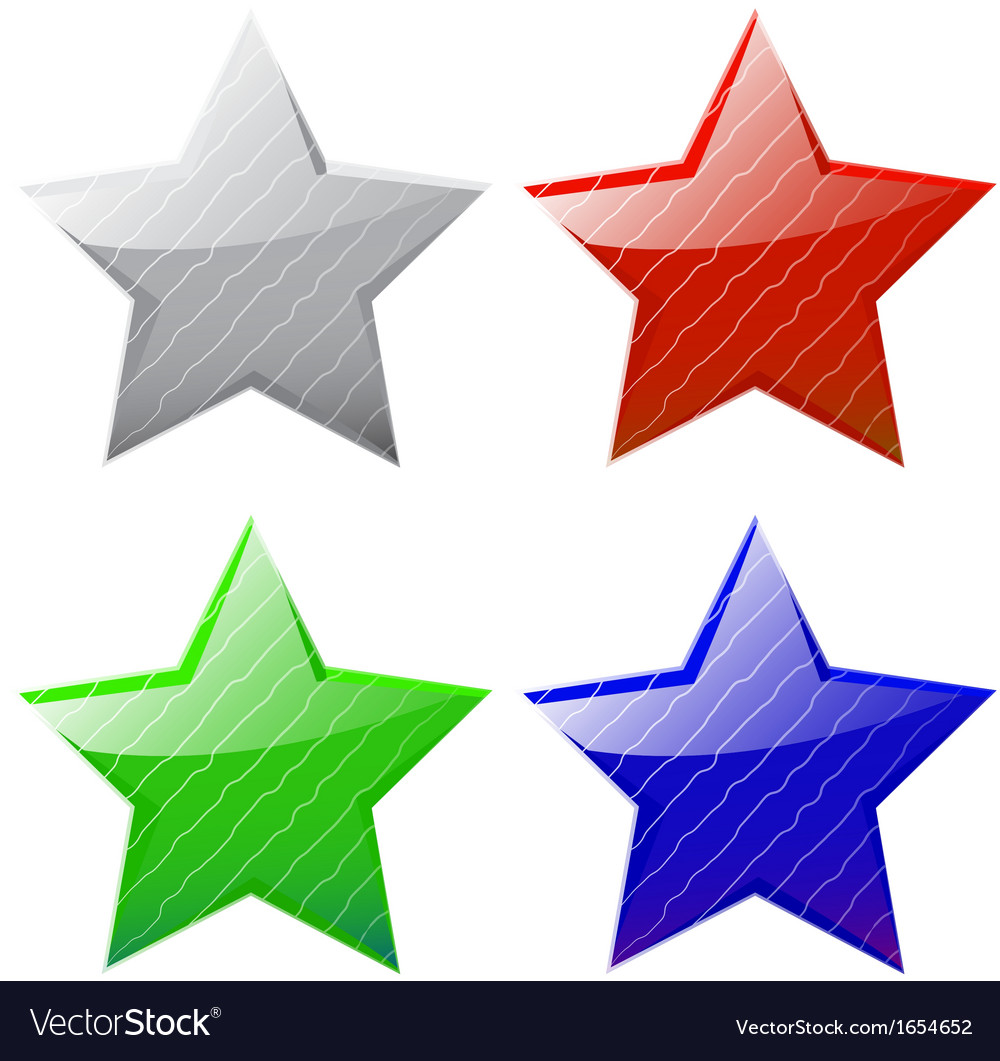 Set of glossy five-pointed stars vector | Price: 1 Credit (USD $1)