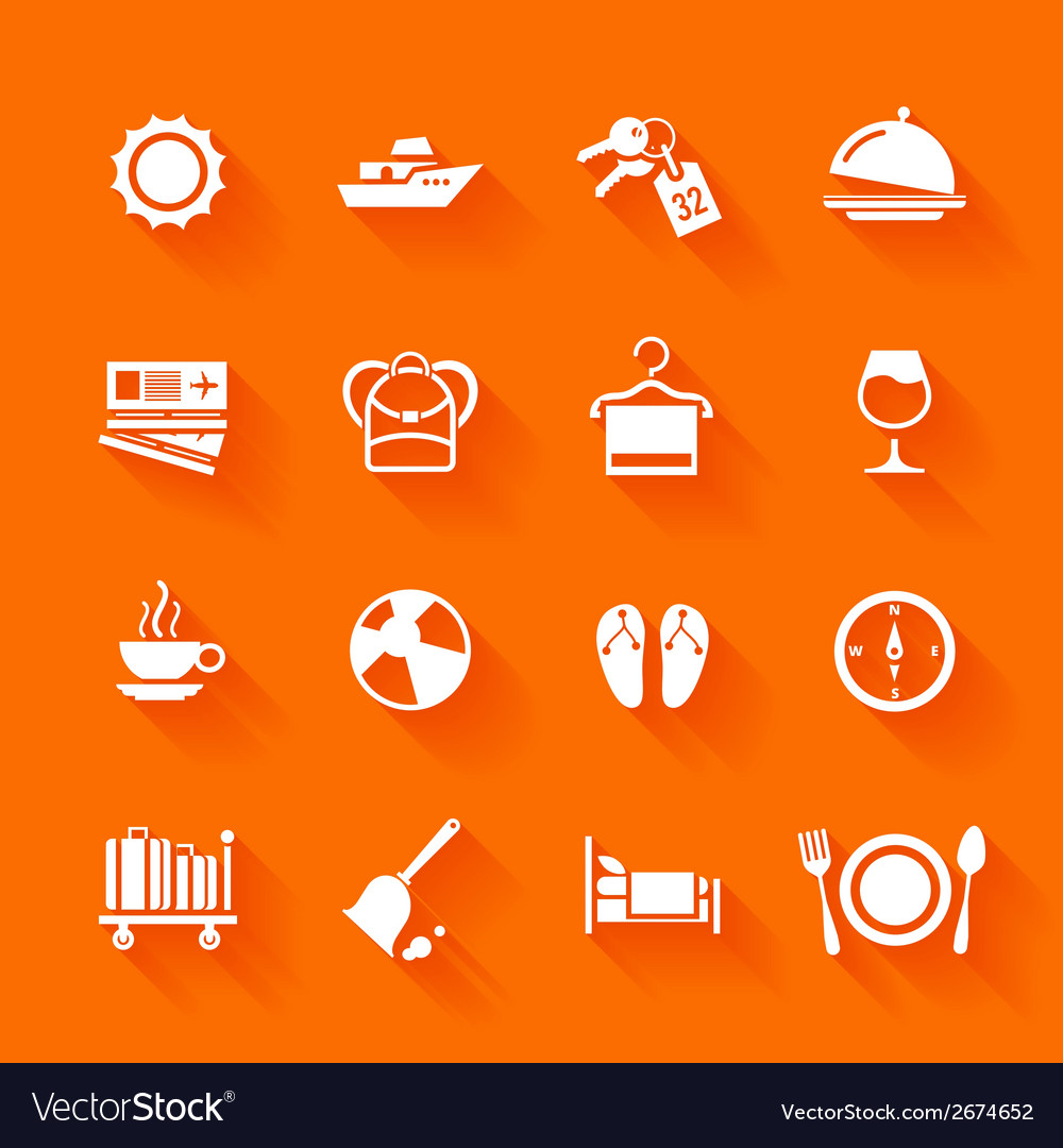 Set of white travel icons vector | Price: 1 Credit (USD $1)