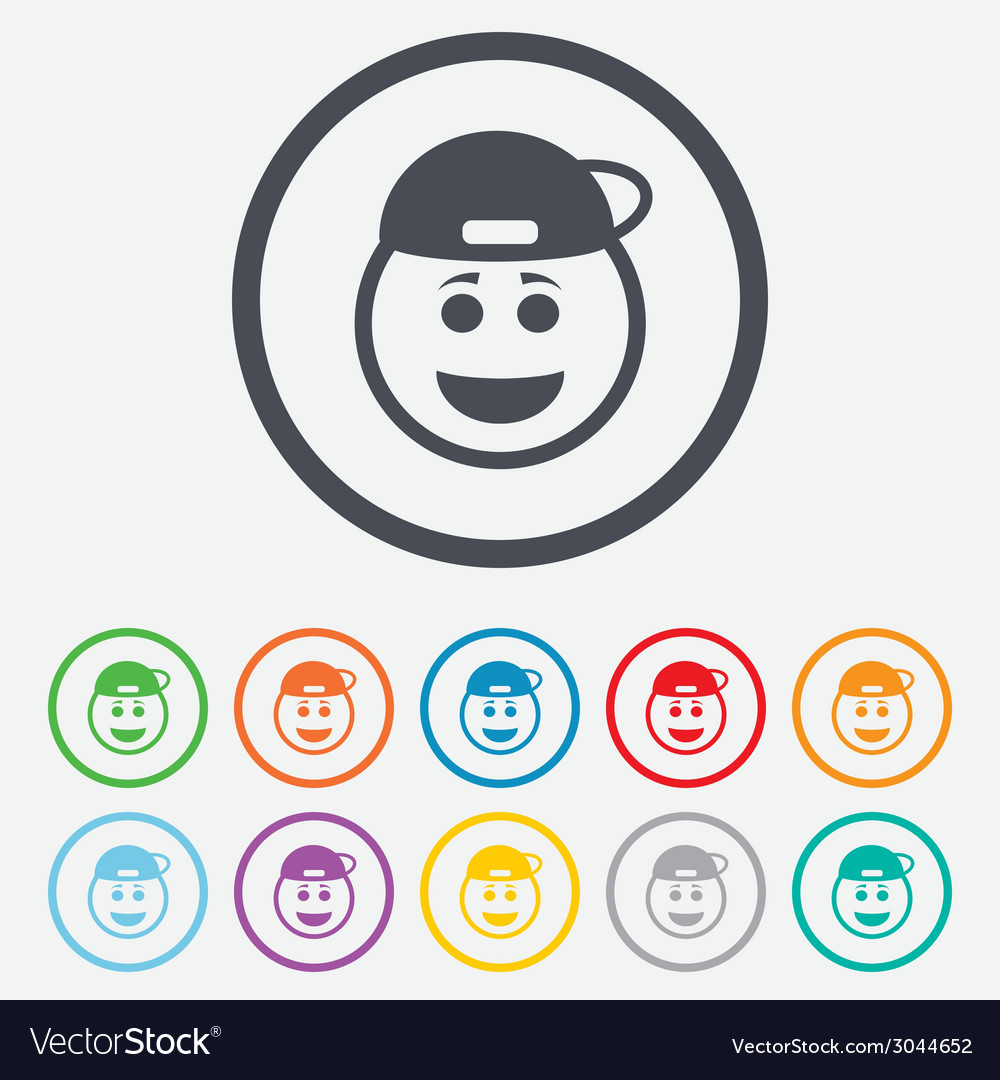 Smile rapper face icon smiley symbol vector | Price: 1 Credit (USD $1)