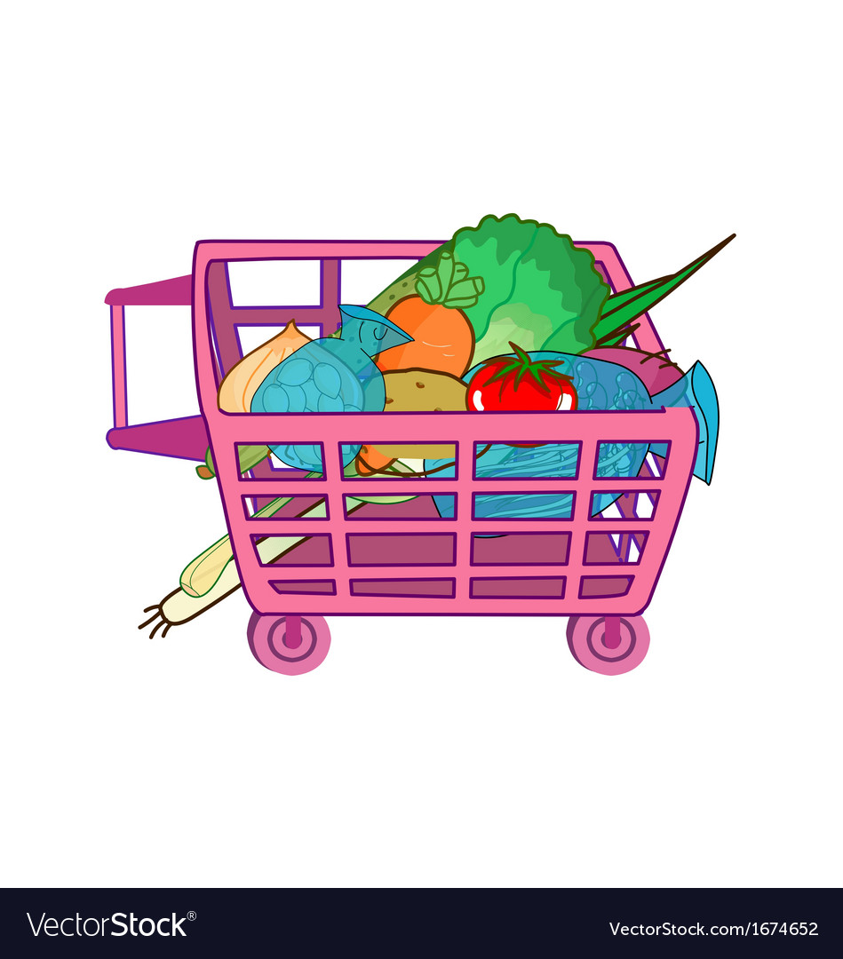 Trolley vegetable vector | Price: 1 Credit (USD $1)