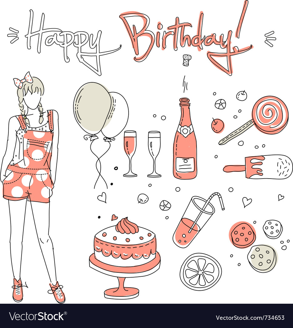 Birthday girl vector | Price: 3 Credit (USD $3)