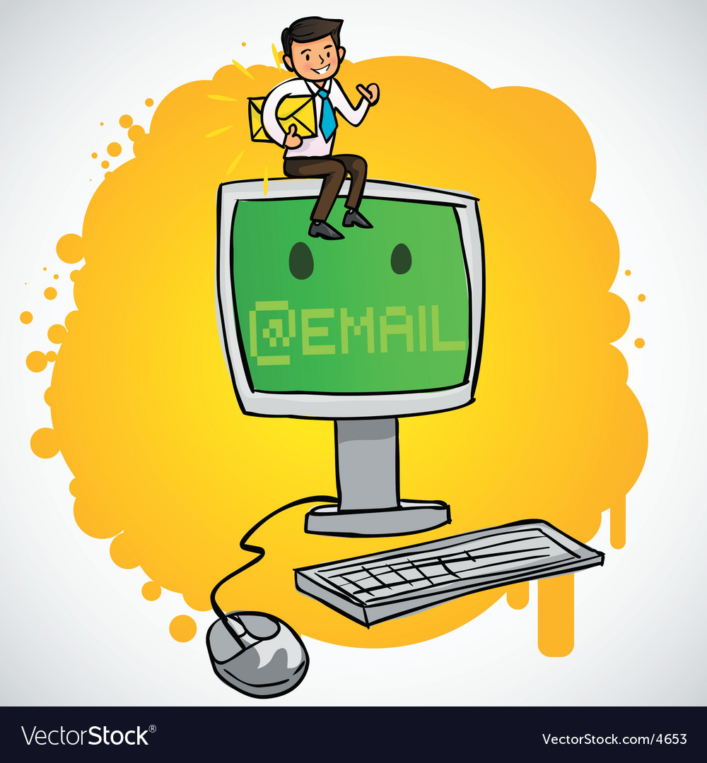 Businessman sit on the computers vector | Price: 3 Credit (USD $3)