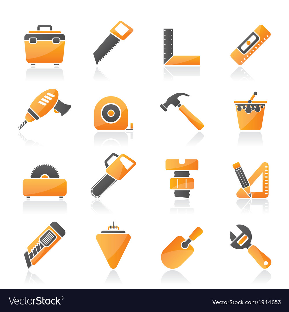 Construction objects and tools icons vector | Price: 1 Credit (USD $1)