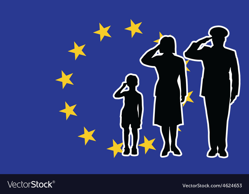 European union soldier family salute vector | Price: 1 Credit (USD $1)