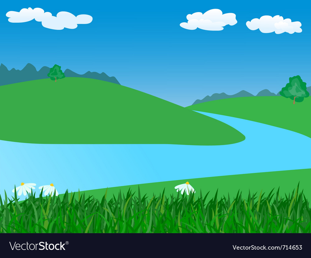 Landscape with river vector | Price: 1 Credit (USD $1)