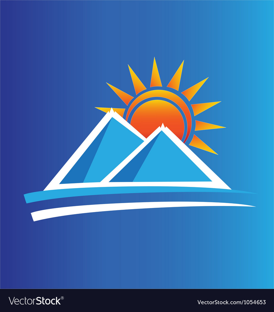 Mountains and sun logo vector | Price: 1 Credit (USD $1)