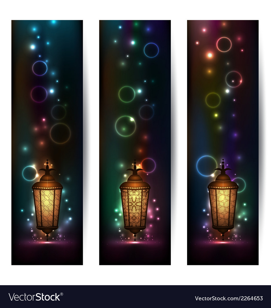Set light banners with arabic lantern vector | Price: 1 Credit (USD $1)