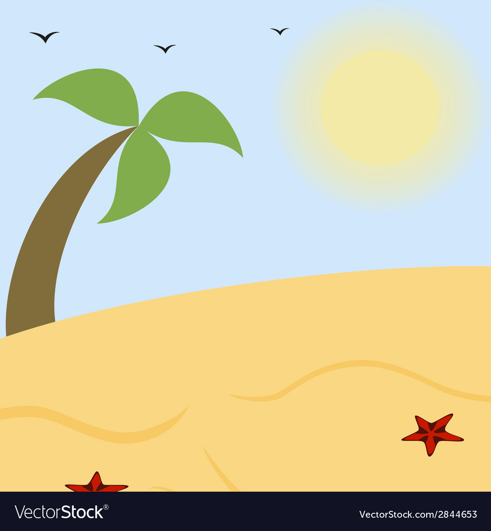 Summer landscape a sunny beach with palm vector | Price: 1 Credit (USD $1)