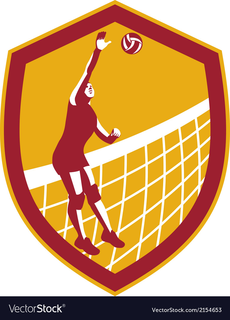 Volleyball player spike ball net retro shield vector | Price: 1 Credit (USD $1)