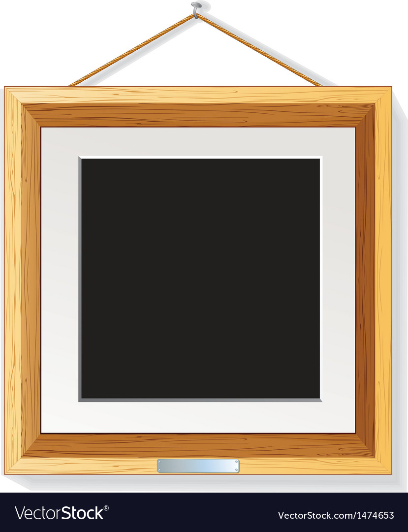 Wooden photo frame on the wall vector | Price: 1 Credit (USD $1)