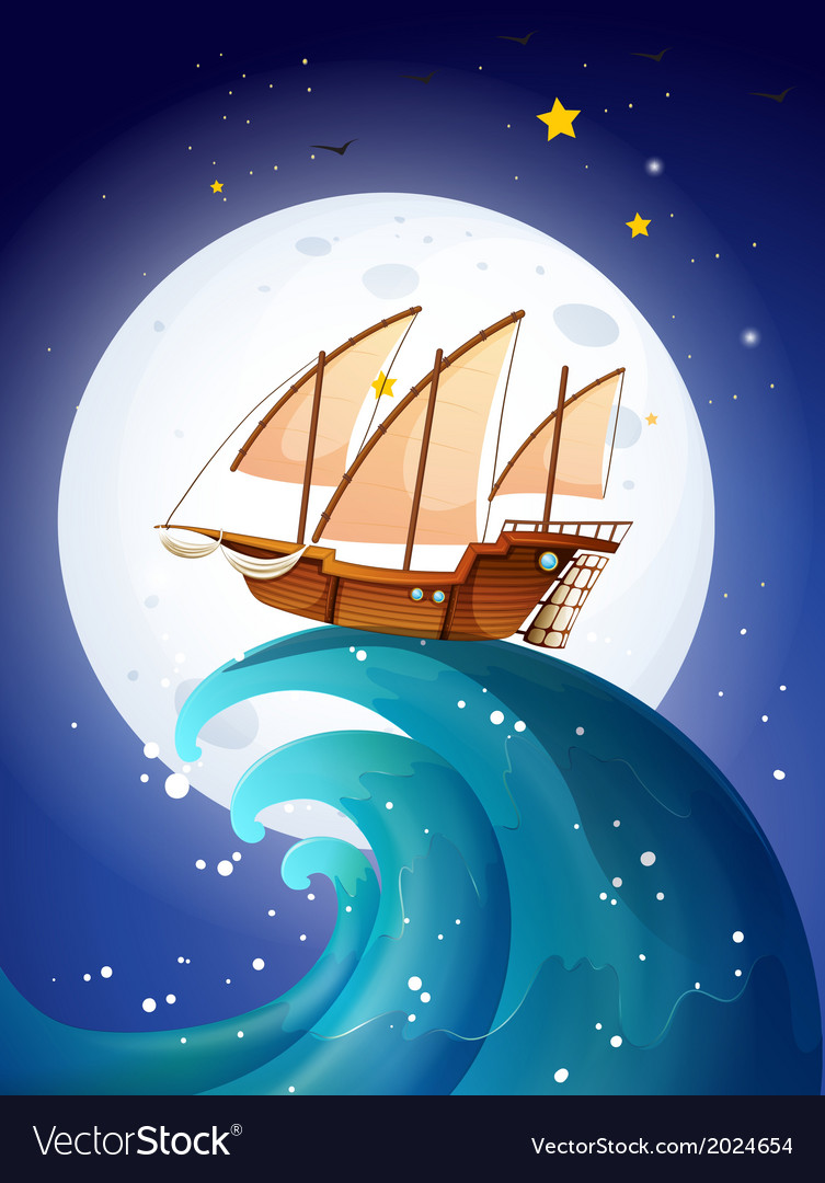 A ship above the giant waves vector | Price: 3 Credit (USD $3)