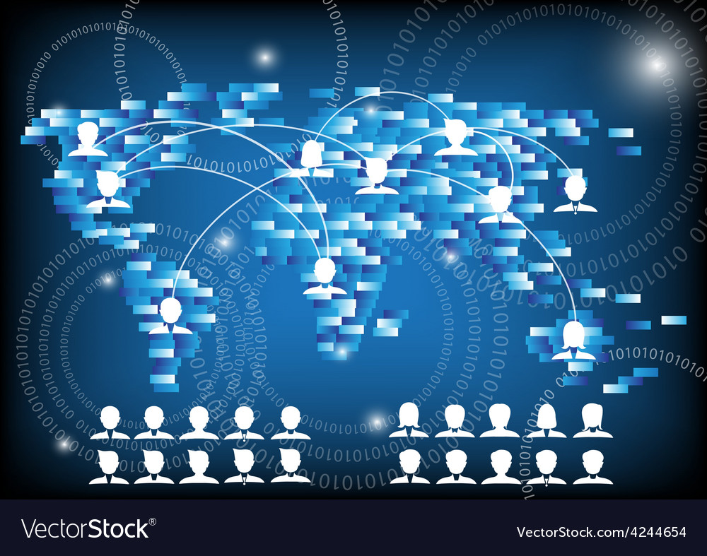 Business people and world network communication vector | Price: 1 Credit (USD $1)