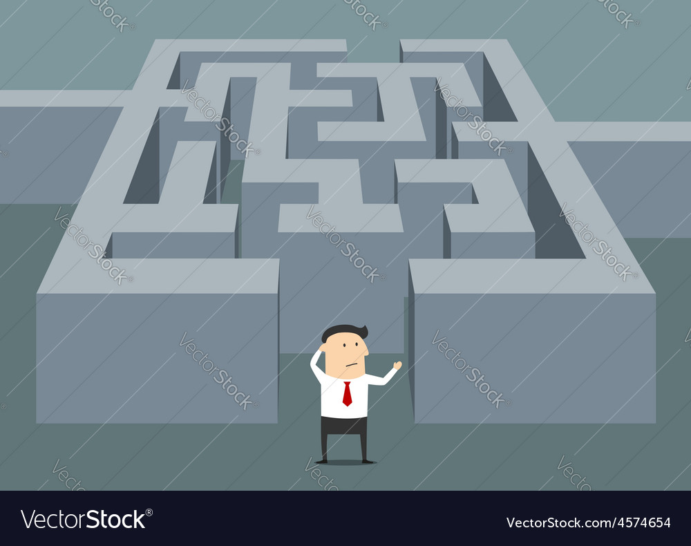 Businessman at the starting point of a maze vector | Price: 1 Credit (USD $1)