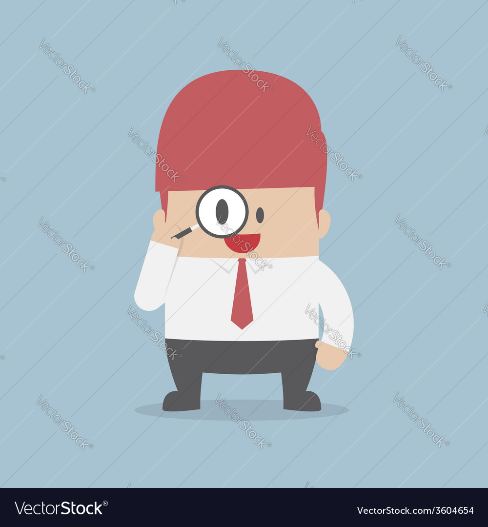Businessman looking through magnifying glass vector | Price: 1 Credit (USD $1)