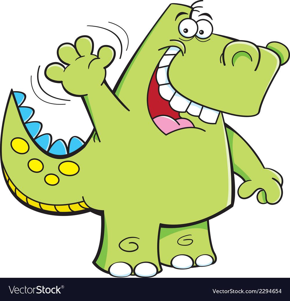 Cartoon waving dinosaur vector   Price: 1 Credit (USD $1)