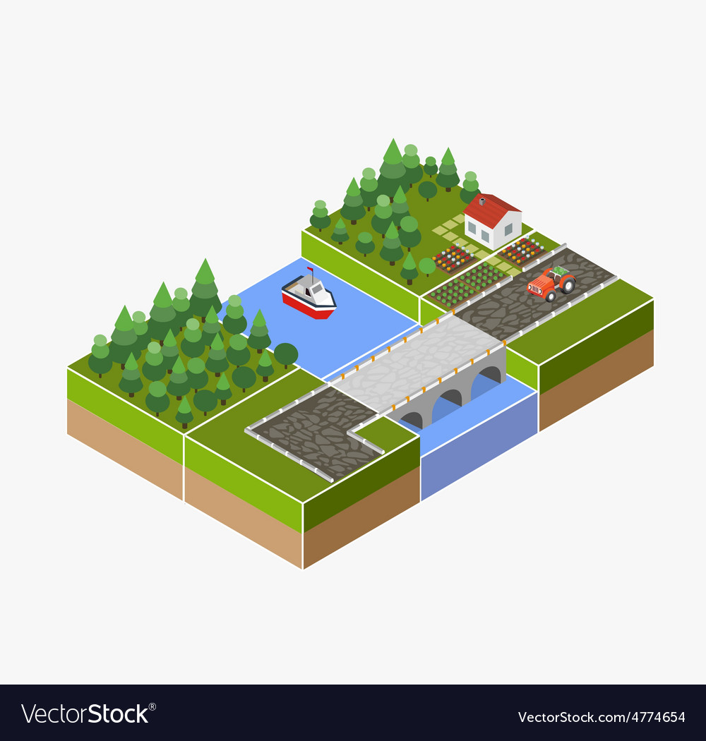 Countryside farm vector | Price: 1 Credit (USD $1)